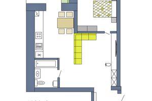 Продається 1-кімнатна квартира 46.26 кв. м у Чернігові