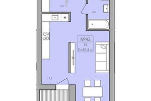 Продается 1-комнатная квартира 40.4 кв. м в Тернополе
