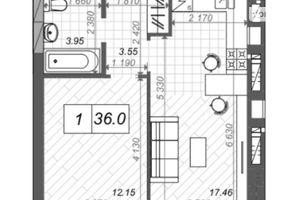 Продается 1-комнатная квартира 36 кв. м в Ирпене