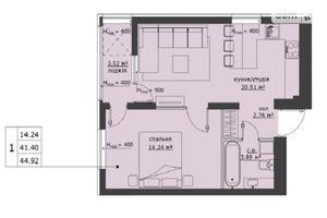 Продається 1-кімнатна квартира 44.92 кв. м у Львові