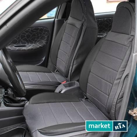 AVto-AMbition Universal Pilot-Sport (Кожзам + Автоткань)  | Чехлы на сиденья из автоткани со вставками из кожзама: фото - MARKET.RIA