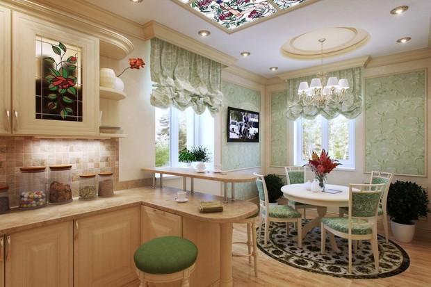 Как оформить интерьер кухни-столовой в классическом стиле