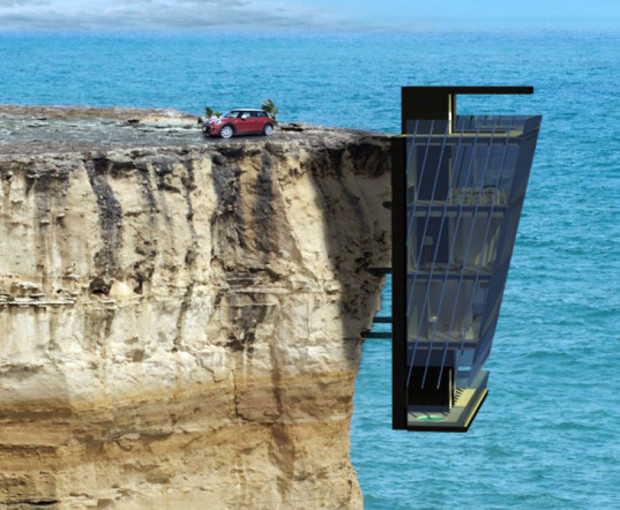 В Австралии спроектировали дом, «свисающий» с отвесной скалы над океаном (фото)