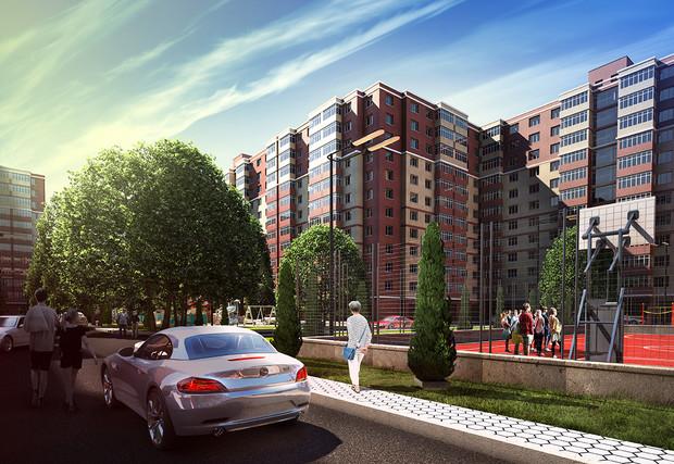 """ЖК """"Щасливий""""- это четырнадцать корпусов этажностью 12 этажей, симметрично расположенных относительно друг друга."""