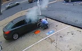 А что, если... Водитель подкачал шину до взрыва. ВИДЕО