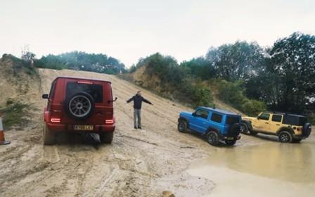 Неравный бой. Suzuki Jimny сразился с «Геликом» и Jeep Wrangler на бездорожье. ВИДЕО