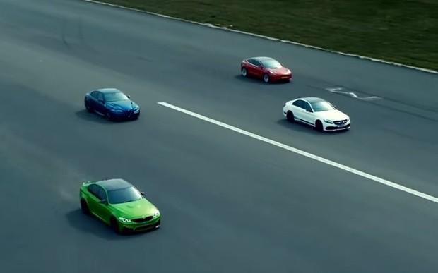 Трое на одного. Tesla Model 3 сразился с лучшими в классе. ВИДЕО