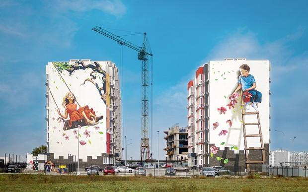 В'їзд в Одесу з боку 7 км прикрасив мурал-диптих